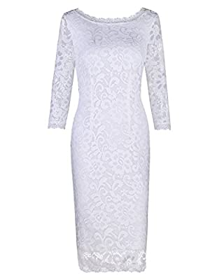 OUGES Women's 3/4 Sleeve Lace Cocktail Party Dress
