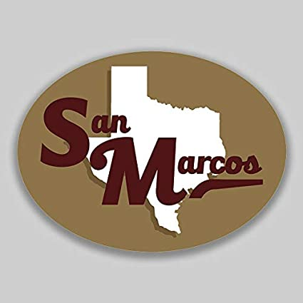 San Marcos College >> Amazon Com Jb Print San Marcos Texas Oval Vinyl City Town