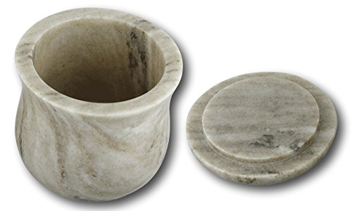 Shalinindia Handmade Ocean Gray Storage Box - Marble - 3.5 inches by 3.5 inches - Use as a Spice Jar With Lid or Candy Dish - Perfect as a Gift (Brown Galaxy)