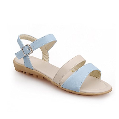 VogueZone009 Womens Open Toe Soft Material PU Sandals with Assorted Colors Blue sHvfzLyq