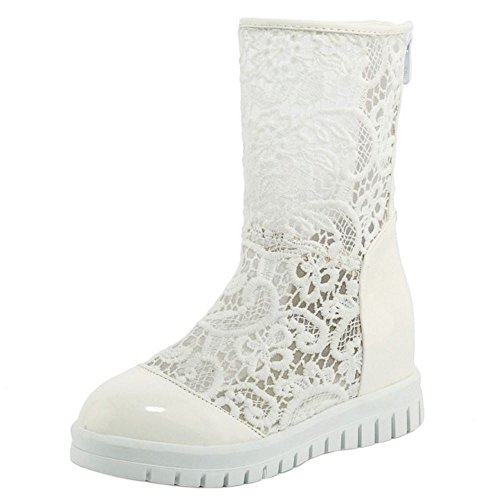 Mid Fashion White Increasing Lace KemeKiss Calf Boots Zipper Height Shoes Women 0wf1fvxnZ