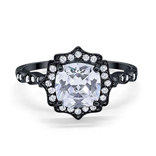 Blue Apple Co. Halo Art Deco Engagement Ring Cushion Simulated Round Cubic Zirconia 925 Sterling Silver Choose Color