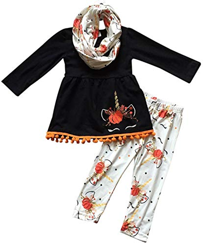 Little Girls' 3 Pieces Set Unicorn Halloween Pumpkin Outfit Top Scarf Pant Set Black Orange 4 M (P201842P) -