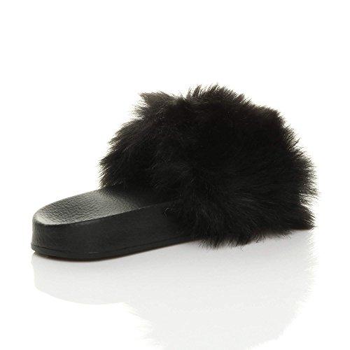 Size Fur Slip Ajvani Faux Flop Sliders Flat Sandals Womens Comfy flip Ladies on Slipper Fur Black q4HwIO4F