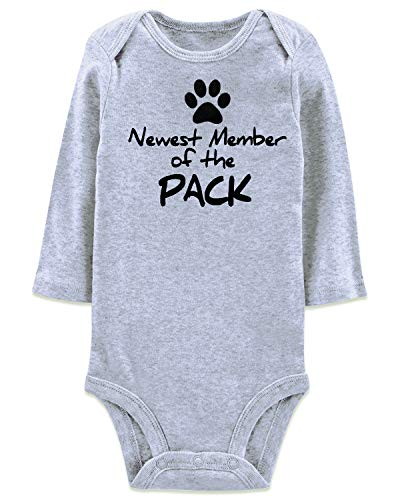 Winter Long Sleeve Round Neck Funny Onesie Newest Member of The Pack Letter Printing Rompers Footprint Paw Active Simple Costume for Babe Creeper Innocent Baby Neice Newp -