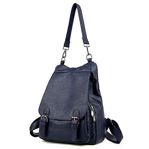 (JVP1063-Z) Bolso de gran capacidad de cuero natural de las mujeres para el bolso de moda de las muchachas anillo impermeable de la manera lindo viajero ligero escuela Azul Marino