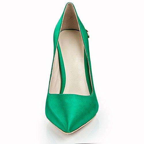 Alti 2018 Tacchi Calza Donne Verde Raso Pompe Delle Modeldress 5ZwFAxqn