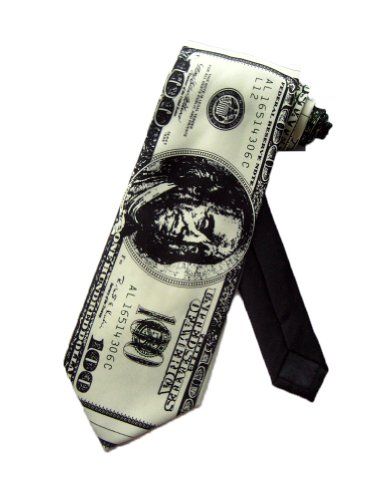 Parquet Mens $100 Dollar Bill Cash Necktie - Green - One Size Neck Tie