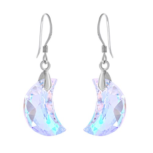 925 Sterling Silver Drop Dangle Earrings with Swаrovski Crescent Crystаls - Designed and Made in England
