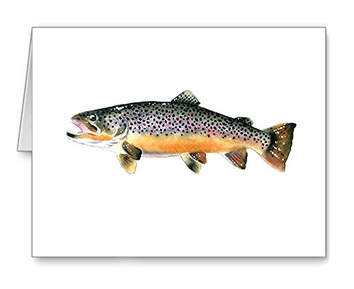 - Brown Trout - Fly Fishing - Set of 10 Note Cards With Envelopes