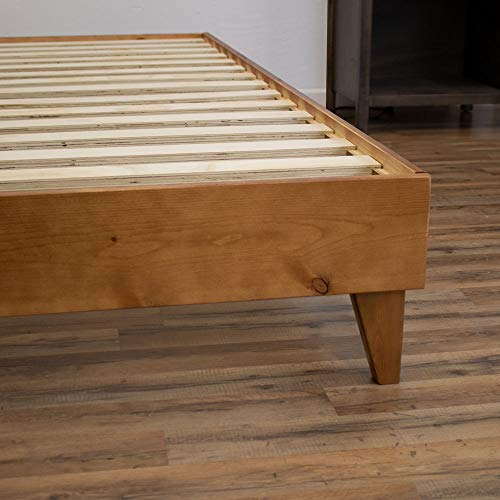 eLuxurySupply Wood Bed Frame - Made in The USA w/100% North American Pine - Solid Mattress Platform Foundation w/Pressed Pine Slats - Tool-Free Assembly - California King