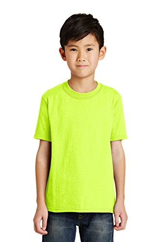 (Port & Company Boys' 50/50 Cotton/Poly T Shirt S Safety Green)