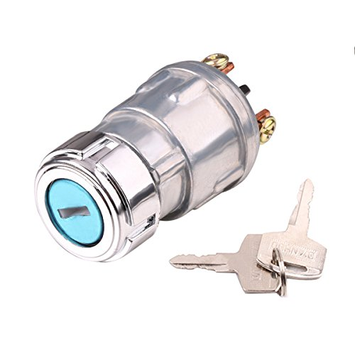 Ignition Switch with Key, Lenmumu Universal 3 Wire Engine Starter Switch for Car, Motorcycle, Tractor, Forklift, Truck, Scooter, Trailer, Agricultural Modified Car ()