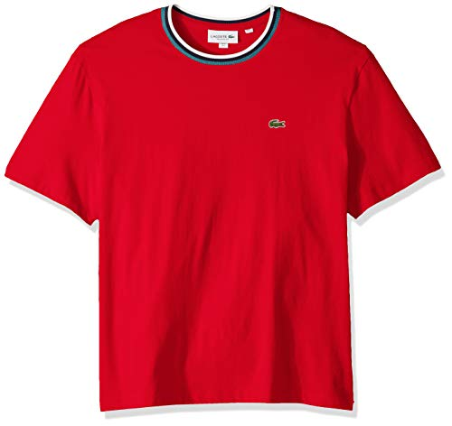 Lacoste Men's S/S Striped TOP Jersey T-Shirt Shirt, red, - Jersey T-shirt Striped