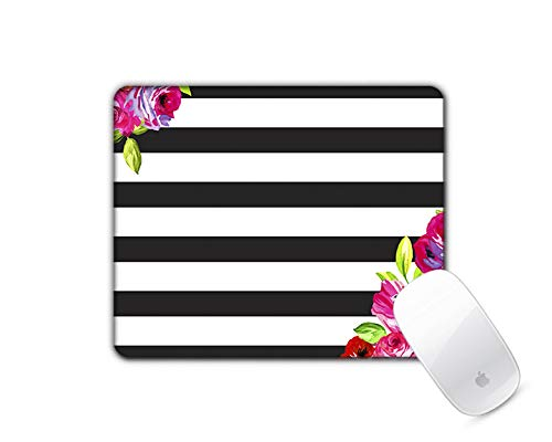 Shabby Chic Stripes - Floral Flower Garden Black Stripes Shabby Chic Pattern Navy Blue Square Mouse Pad