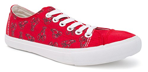 Ann Arbor T-shirt Co. Lobster Sneakers | Cute Canvas Print Red Claw Costume Tennis Shoe - Women Men - (Lowtop, US Men's 8, US Women's 10)