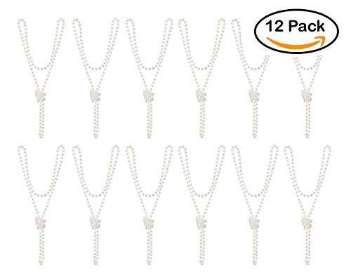 12-Pack 1920s Flapper Faux Pearl Necklace Beads- Long, Bulk 1 Dozen, 72