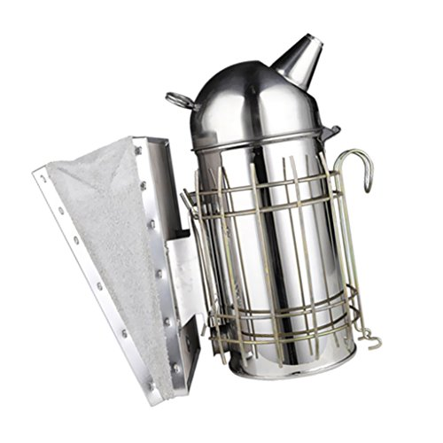 Fityle Beekeeping Tools Stainless Steel Hive Tool Bee Brush Smoker Stainless and Leather (Brush Used Guard)