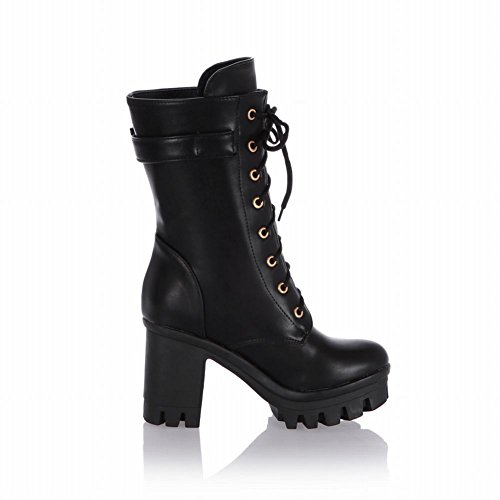 Carol Shoes Fashion Womens Performance Buckle Combat Lace-up Military Platform Chunky Heel Motorcycle Cosplay Boots Black S6Mmig