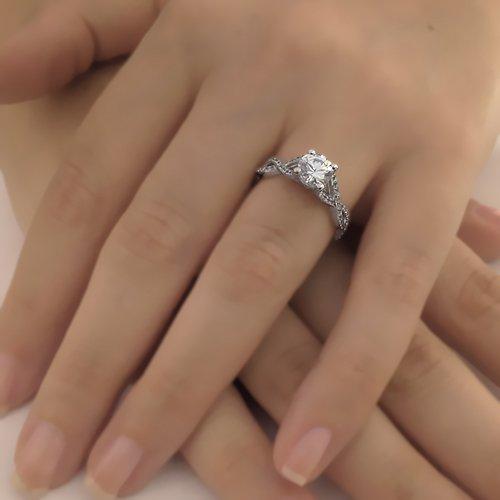 Round Cut Forever One Moissanite Engagement Ring and Diamonds 14k White Gold or 14k Yellow Gold or Platinum Diamond Ring Art Deco Design HANDMADE Anniversary Ring