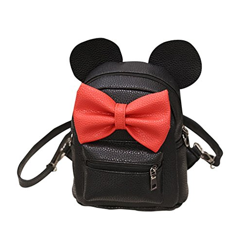 Respctful Fashion Mickey Backpack Mini Cute Bownot Bag for Girl Travelling (Black)