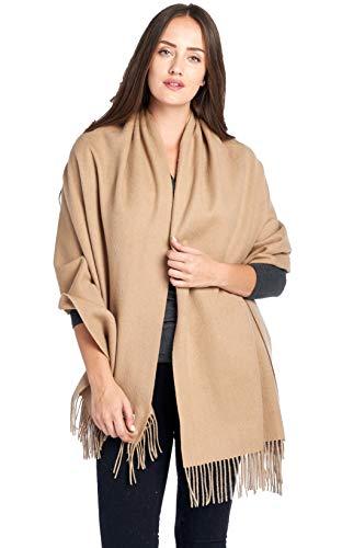 - Mariyaab 100% Lambswool wool Women Solid Oversized Large Pashmina Scarf Stole Shawl (915477,Beige)
