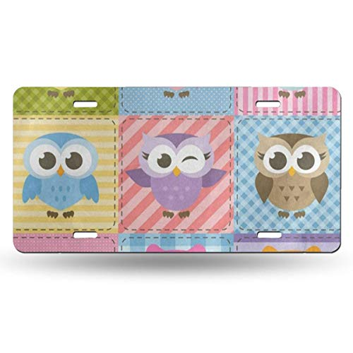 (DERTYV License Plate Frame Custom Colorful Funny Owl Plaid Metal Signs Car Cover Set Stylish for Car Decoration)