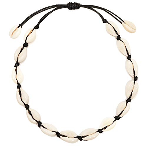 CUSVUEVI Women's Natural Cowrie Shell Necklace, Handmade Shell Choker Adjustable Necklace Hawaii Beach Boho Jewelry -