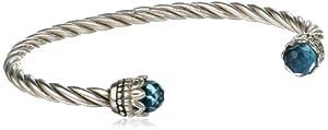 """Sterling Silver Blue Glass Twist Cuff Bracelet, 7"""" from Sunstone"""