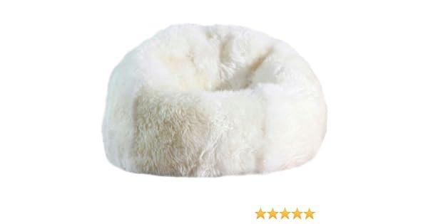 Amazon AUSKIN Large Sheepskin Bean Bag Chair Filled Ivory Impressive Sheepskin Pouf Bean Bag