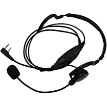 KENMAX® 2 Pin Mic PTT Headset Earpiece Unilateral Head-wearing Neckband for Walkie Talkie Two Way CB Ham Radio Kenwood UV-N98 TK3230K TK-2400V16P NX-220