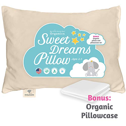 Toddler Pillow & Pillowcase Made in USA - Certified Organic Cotton - 13X18 Machine Washable-Soft and Safe-Toddlers, Kids, Infant - Perfect for Travel, Toddler Cot, Bed Set-Baby Pillows for Sleeping