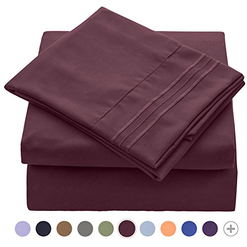 VEEYOO Bed Sheet Set Queen - 1800 Thread Count Microfiber Queen Size Sheet Sets - Wrinkle, Stain, Fade Resistant Hypoallergenic Pillowcase Sheet Set with Deep Pocket, Luxury Hotel Bedding Set (Queen Hotel Collection Embroidery)