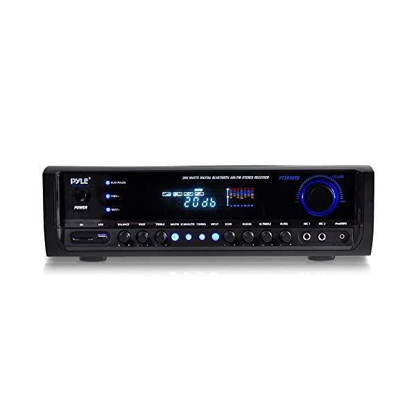 Wireless Bluetooth Power Amplifier System – 300W 4 Channel Home Theater Audio Stereo Sound Receiver Box Entertainment w/USB, RCA, 3.5mm AUX, LED,...