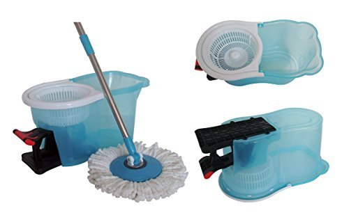 Easy Clean Magic 360 Rotating Spin Twist Hurricane Spinning and Shout Mop and Bucket System With Foot Pedal As Seen on TV Transparent - On As Seen Hurricane Tv Mop