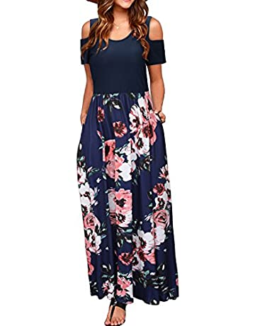 45496140470 STYLEWORD Women s Summer Cold Shoulder Floral Print Elegant Maxi Long Dress  with Pocket