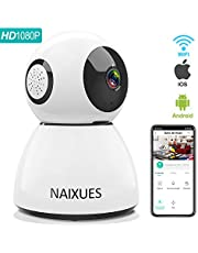NAIXUES Camara IP WiFi, 1080P Cámara de Vigilancia Inalámbrico de Interior para Cámara de Seguridad, Audio Bidireccional, Detección de Movimiento, Alarma Email, Compatible con iOS/Android, Blanco