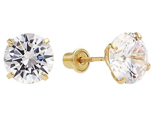 14k Yellow Gold Round Solitaire (14k Yellow Gold Round Solitaire 7mm Cubic Zirconia Cz Basket Stud Earrings with Screw Backs)