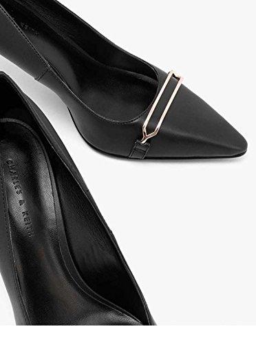 Sandali Da Donna Snelli E Professionali, Scarpe Singole, Scarpe Di Pizzo, Pelle Pu, Tacchi Alti. Nero