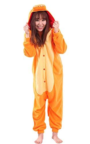 Plus Size Costume Ideas Australia (Apiidoo Unisex Dragon Pajama Animal Cosplay One Piece Halloween Costume Jumpsuit Orange XL)