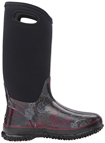 LADIES BOGS CLASSIC ROSEY TALL iNSULATED WARM WELLINGTON BOOT 72032 (UK5, NEGRO)