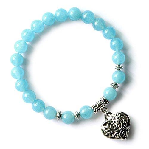 MHZ JEWELS Blue Aquamarine Beads Stone Bracelet Stretchy Handmade Love Heart Charm Beaded Bracelets for Women -