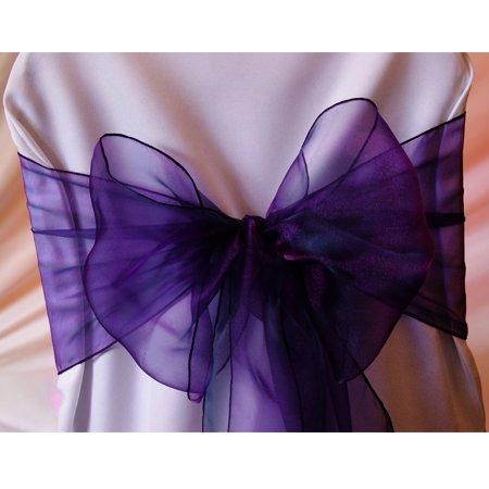 MDS 100 Organza Chair Cover Bow Sash Wedding Banquet Decor -cadbury purple