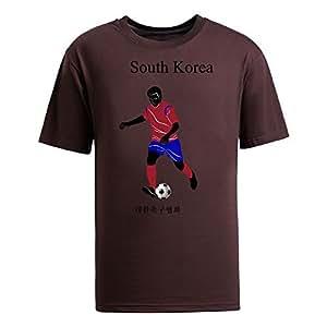 Custom Mens Cotton Short Sleeve Round Neck T-shirt,2014 Brazil FIFA World Cup teams brown