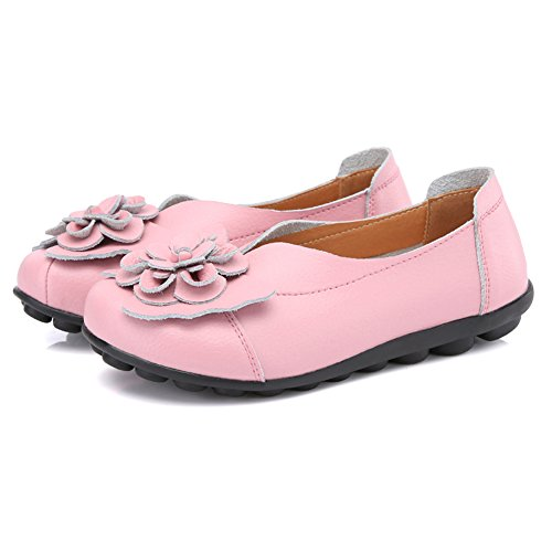 Pink LINGTOM Driving on Girls Loafer Moccasin Flat Casual for Women Slip Slippers Shoes qxw7UfBSrq