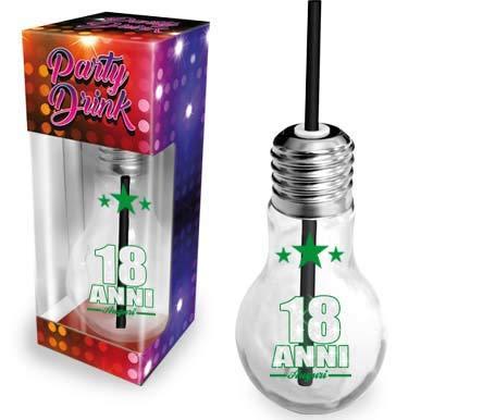 Dream' s Party Flute in Vetro per 18 Anni - Bicchiere, Calice a Forma di Lampadina Lampada con Cannuccia - Idea Scherzo Gadget - per Il Brindisi del MAGGIORENNE - 18 Anni Auguri