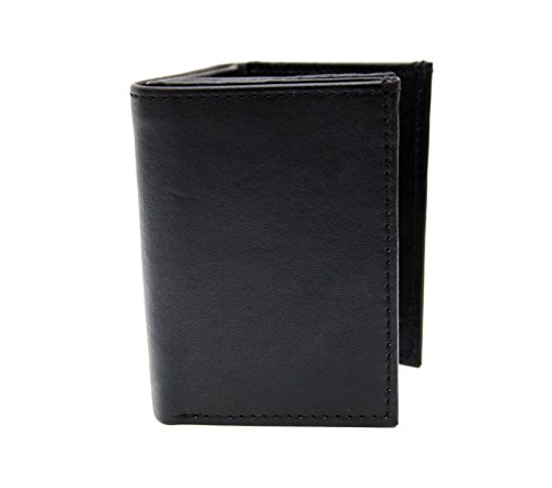 HUNTER Mens 100% Leather Tri-fold wallet 9 card pockets and 2 Id Pockets & Double Billfold Napa Leather Wallet. Black [6402-07-01] by ASHLIN (Black Tri Fold Card)