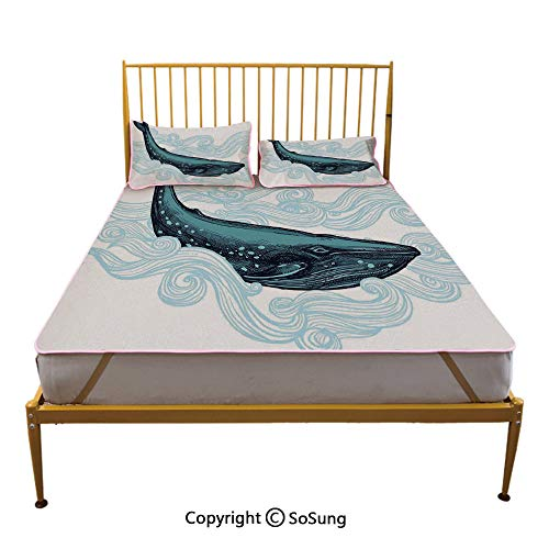 (Whale Decor Creative Full Size Summer Cool Mat,Big Happy Whale with Ornamental Striped Waves with Motto Artwork Sleeping & Play Cool Mat,White Dark Blue and Blue)