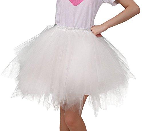 FEOYA Jupe Courte Bal Ballet Tulle en dentelle Costume Tutu Femme Jupon Princesse Bouffe Pliss Mini-jupe pour Danse Cosplay Dguisement Elastique Soire Couleur optique 34 36 38 40 42 44 Blanc 1