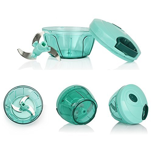 Manual Food Chopper 3Blades Easy to Chop Onion Garlic Meat Slicer Mincer Vegetable Herbs/Salsa/Salad/Pesto/Coleslaw/Puree Processor Pull String Kitchen Tool-Green centtechi
